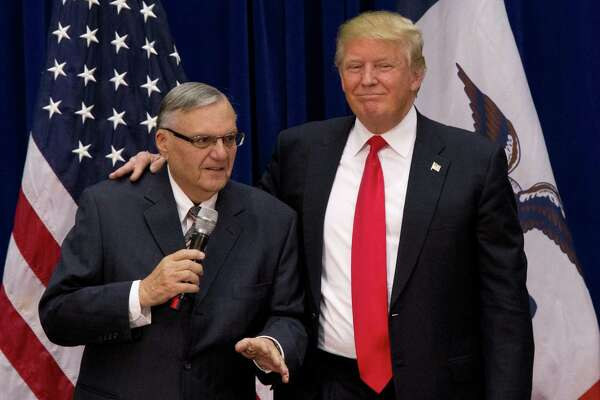 President Trump seems to have an affinity with bullies, as evidenced by his pardons on former Maricopa County Sheriff Joe Arpaio, shown here with Trump in 2016, and the Hammonds of Oregon.