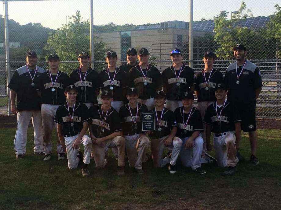 The Trumbull Babe Ruth 14U All Stars are (front row, L-R) Johnny Bova, Bryan Kraus, Joey DeRienzo, Erik Osterberg, Charlie Langworth,and Justin Delaney (second row, L-R) Head Coach Mike Buswell, Grayson DeFelice, Jack Wallace, Michael Brown, Assistant Coach John Bova, Dylan Moran, Niko Coclin, Jack Ligouri, and Assistant Coach Tyler Feldman. Photo: Contributed Photo / Stamford Advocate Contributed