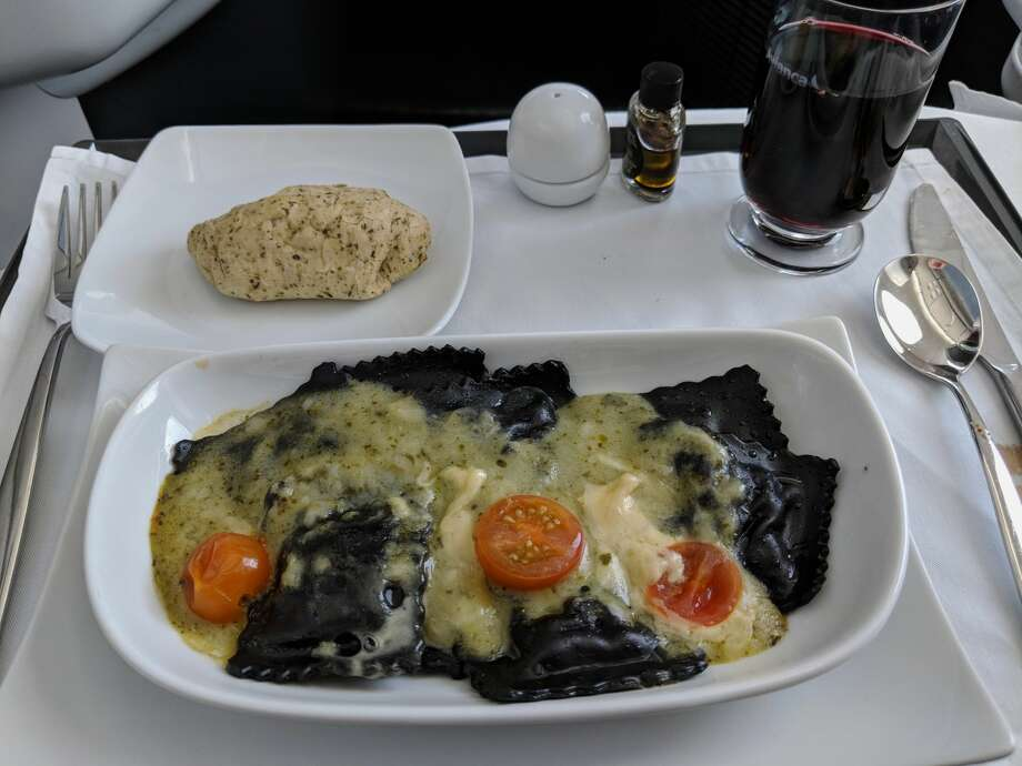 The ravioli dish was very good, and the Chilean shiraz paired nicely with the pasta. Photo: Courtesy: Rich Walker