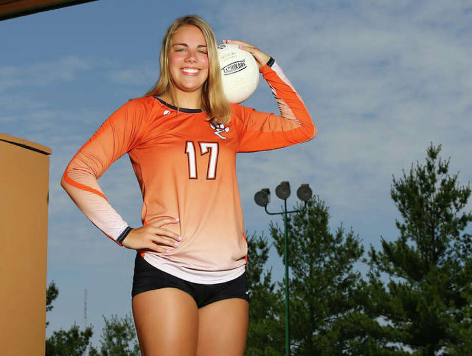 Edwardsville's Rachel Pranger is the 2017 Large-Schools Volleyball Player of the Year, completing a four-year sweep of the award in a career that will play on at the Division I level with Bradley. Photo:     Billy Hurst / For The Telegraph
