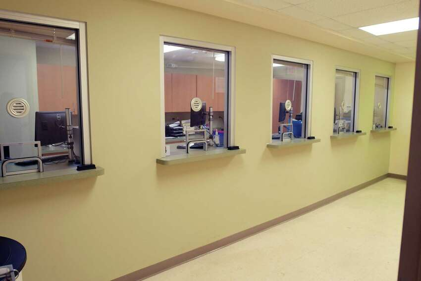 A view of the five windows where methadone can be dispensed at Camino Nuevo, seen here on Tuesday, June 19, 2018, in Albany, N.Y. (Paul Buckowski/Times Union)