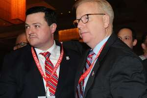 Republican candidates for governor Tim Herbst, left and Danbury Mayor Mark Boughton.