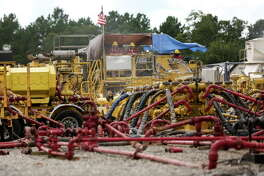 Water and sand are used in the process of new drilling and natural fracking wells in the Haynesville shale in East Texas lead by Exxon Mobile and XO Energy on Tuesday, July 19, 2016.