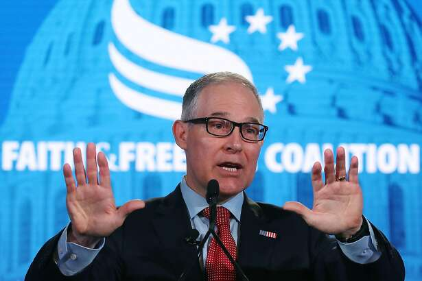 FILE - JULY 5, 2018: President Donald Trump has announced that Environmental Protection Agency chief Scott Pruitt has resigned July 5, 2018. WASHINGTON, DC - JUNE 08: EPA Administrator Scott Pruitt speaks at the Faith and Freedom Coalition Road to Majority Policy Conference, at the Omni Shoreham Hotel, on June 8, 2018 in Washington, DC. Pruitt is facing mutiple ethics scandals from his actions since taking over the agency. (Photo by Mark Wilson/Getty Images)