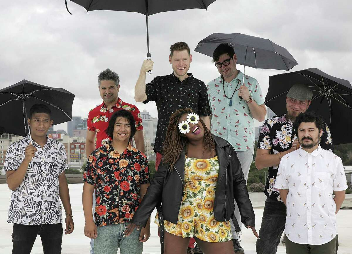 Members of The Suffers pose for a photo in Houston.