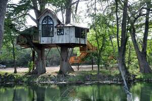 The Chapelle at Treehouse Utopia, on the banks of the Sabinal River, has a spiritual theme.