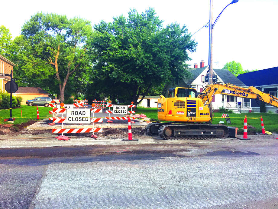 Work continues on the Troy Road resurfacing project as the intersection with Hale Avenue has been closed on the west side. Crews have been busy replacing driveways and installing curbs the last several days.