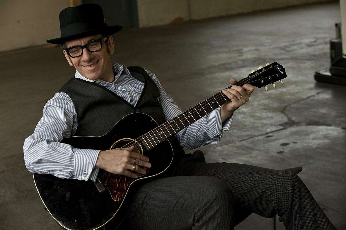 Musician Elvis Costello photographed by James O'Mara