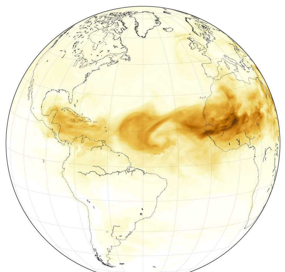 This NASA graphic from June 28 shows dust from the Saharan Desert makes its way west from the country of Chad in central Africa. Photo: NASA Earth Observatory
