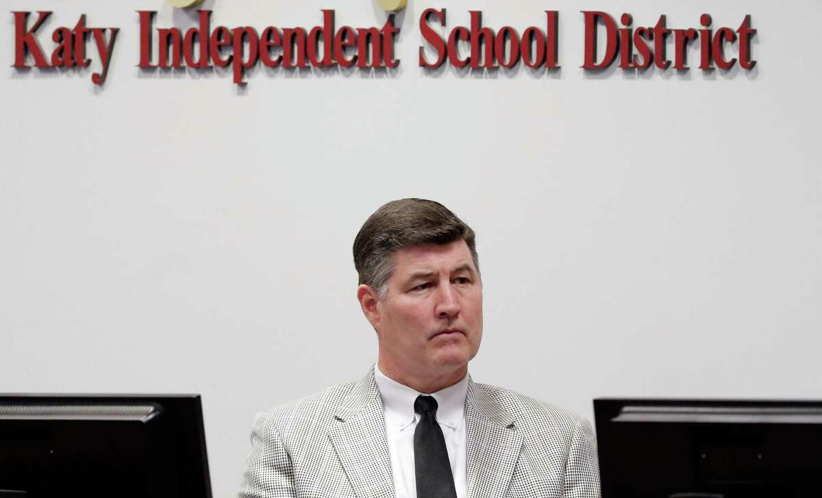 File photo from May 21, 2018 shows then-Katy ISD Superintendent Lance Hindt at a district board meeting at the Education Support Complex in Katy, Texas.