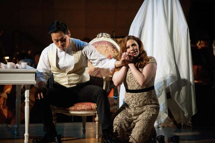 "SeokJong Baek (as Zurga) and Kendra Berentsen (as Leïla) performing a scene from Bizet's ""The Pearl Fishers""."