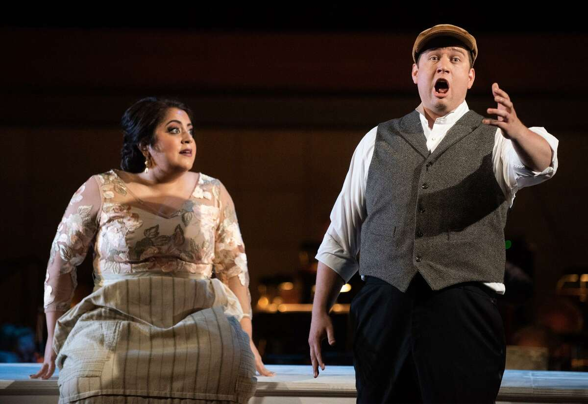Marlen Nahhas (as Giorgetta) and Christopher Colmenero (as Luigi) perform a scene from Puccini's