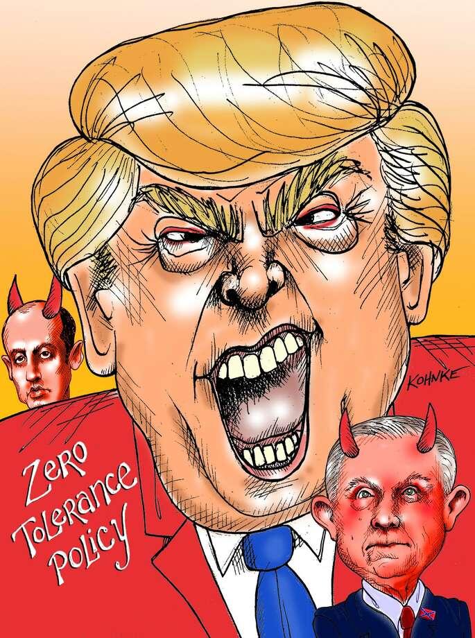 This artwork by Jennifer Kohnke refers to Donald Trump's zero-tolerance immigration policy. Photo: Jennifer Kohnke