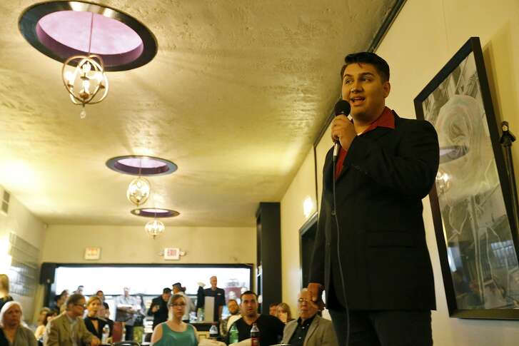"""Paul Ayala performs as part of the """"Leading Men"""" program in the Woodlawn After Dark series."""