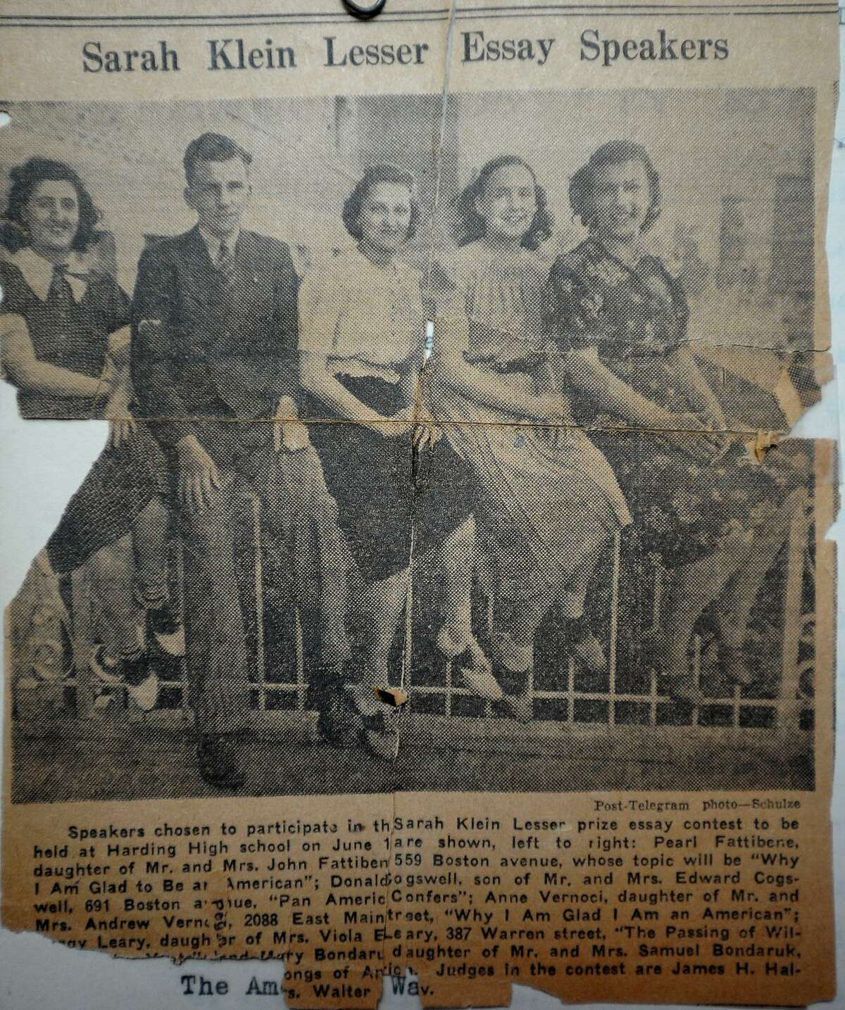A 1939 clipping from the Bridgeport Post-Telegram featuring Anne Fiyalka, center, now of Easton. Fiyalka and two classmates flew in a plane with Amelia Earhart following the aviation pioneer's visit to the school in 1936.