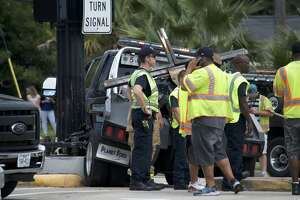 Houston police chased down a tow truck possibly involved in a hit-and-run crash in west Houston on Friday, July 6, 2018.