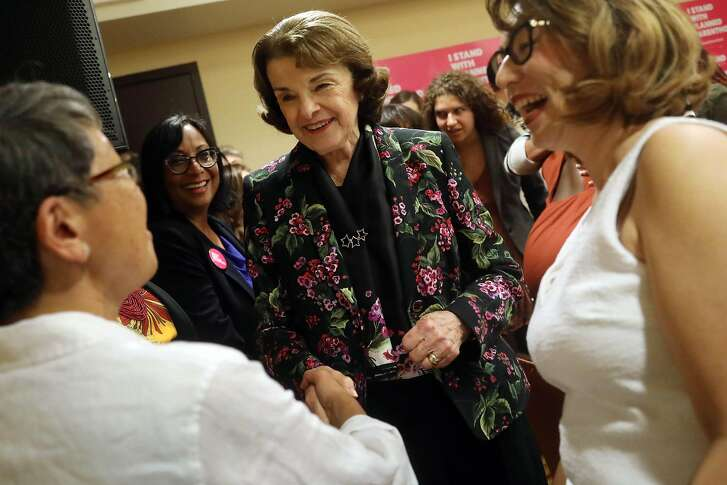 Senator Dianne Feinstein shakes hands with East Bay supporters of Planned Parenthood attending a roundtable discussion hosted by the California Planned Parenthood Education Fund after Feinstein spoke on Friday, July 6, 2018 in Oakland, Calif.