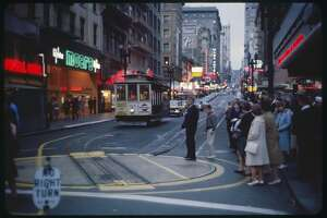 Crowded Street Scene at Dusk, Powell Street, San Francisco, California, USA, 1963. (photo by: GHI/Universal History Archive via Getty Images)