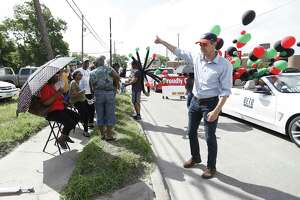 """Robert """"Beto"""" O'Rourke, running as the Democratic candidate for U.S. Senate waves to people as he made his way along the route   during the annual Juneteenth Parade in Acres Homes, Saturday, June 16, 2018, in Houston. ( Karen Warren  / Houston Chronicle )"""