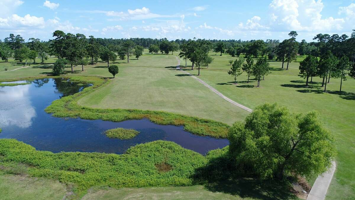 Drone photo of the fairway on hole 14 at Henry Homberg Municipal Golf Course.