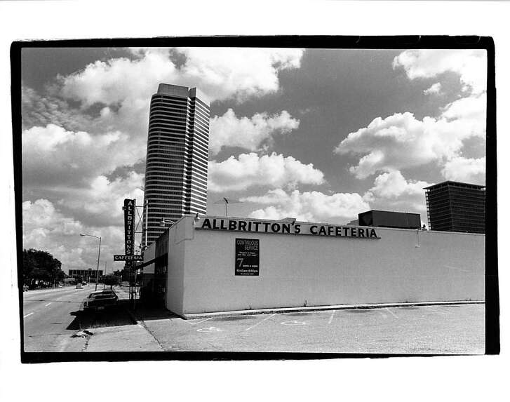 The Allbritton's Cafeteria at 905 Waugh was one of five cafeterias operated by a family whose business began with founder Luther Allbritton pedding food from a horse-drawn chuckwagon in downtown Houston in 1907.