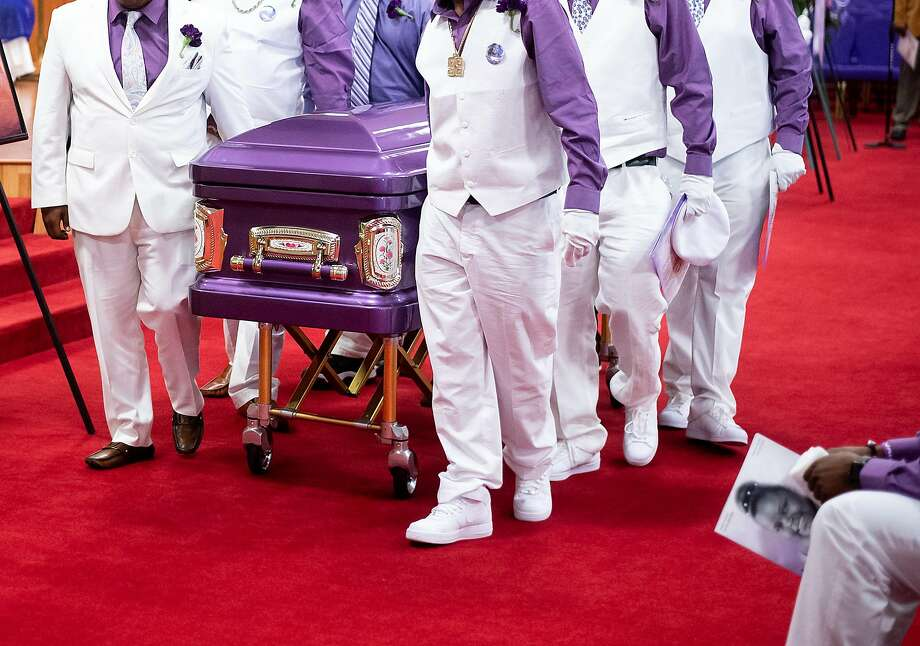 Pallbearers transport teenager Jahi McMath's coffin from her funeral at Acts Full Gospel Church in East Oakland. Photo: Noah Berger / Special To The Chronicle
