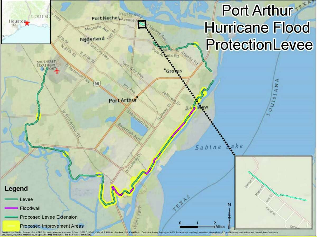 A map showing the the Jefferson County section of a flood prevention system that will stretch from Galveston to Louisiana. The Army Corp of Engineers approved funding for the system on Thursday. Photo taken Friday, 7/6/18