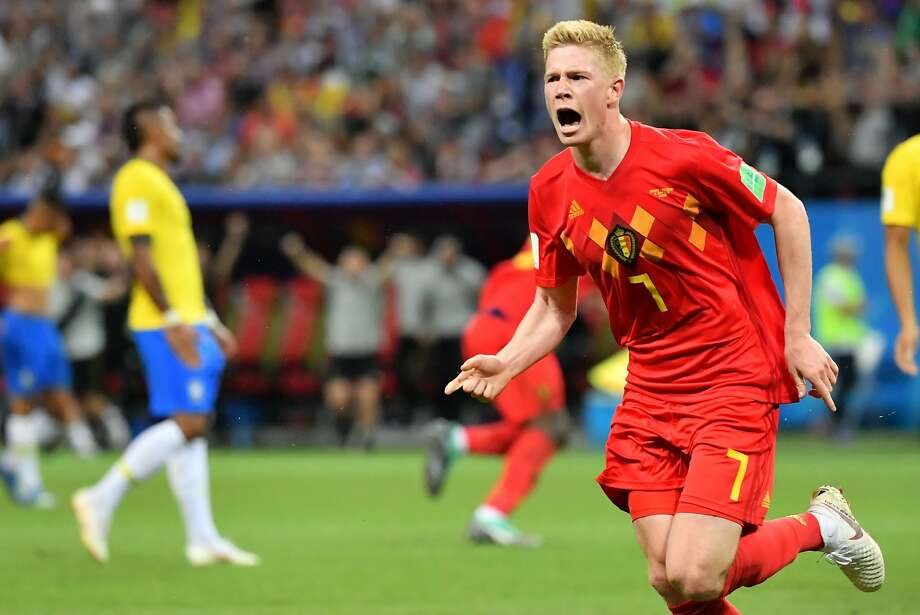 Belgium's Kevin De Bruyne celebrates scoring his team's second goal, which proved to be the game-winner vs. Brazil. Photo: Emmanuel Dunand / AFP / Getty Images