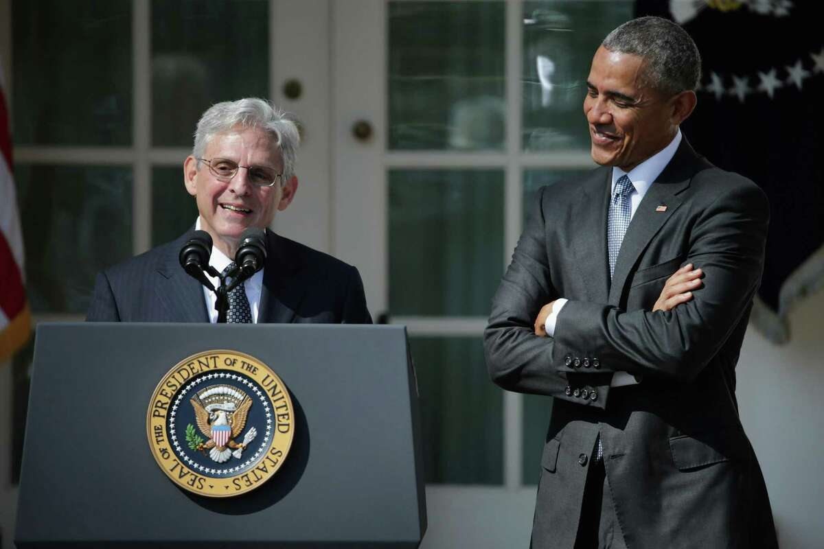 Judge Merrick Garland speaks after being introduced by President Barack Obama as his nominee to the Supreme Court in March of 2016. Republicans poisoned the well by refusing to give Garland a hearing.