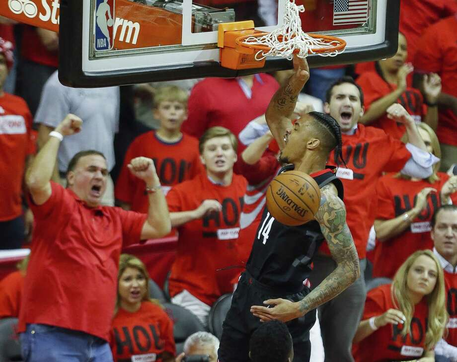 Gerald Green, dunking against the Warriors in Game 2 of the Western Conference finals, is right at home in Houston where he is a crowd favorite. Photo: Karen Warren, Staff / Houston Chronicle / © 2018 Houston Chronicle