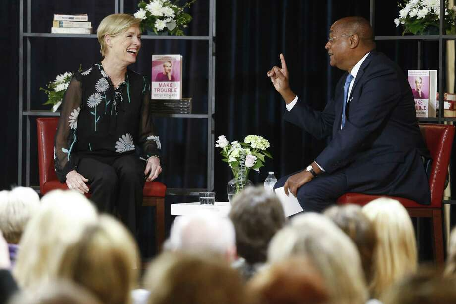 "Cecile Richards talks about her new book, ""Make Trouble: Standing Up, Speaking Out, and Finding the Courage to Lead — My Life Story,"" with Harris County Commissioner Rodney Ellis in Houston. A reader sees a distortion of words from Richards and the choice movement. Photo: Michael Ciaglo /Houston Chronicle / Michael Ciaglo"