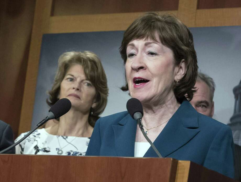 Sen. Susan Collins (right), R-Maine, and Sen. Lisa Murkowski, R-Alaska,  are among the few Republicans who, because of abortion rights, could stand in the way of a Trump nominee to the high court who is hostile to Roe vs. Wade. But Roe is constitutionally and morally flawed. Photo: J. Scott Applewhite /Associated Press / Copyright 2018 The Associated Press. All rights reserved.