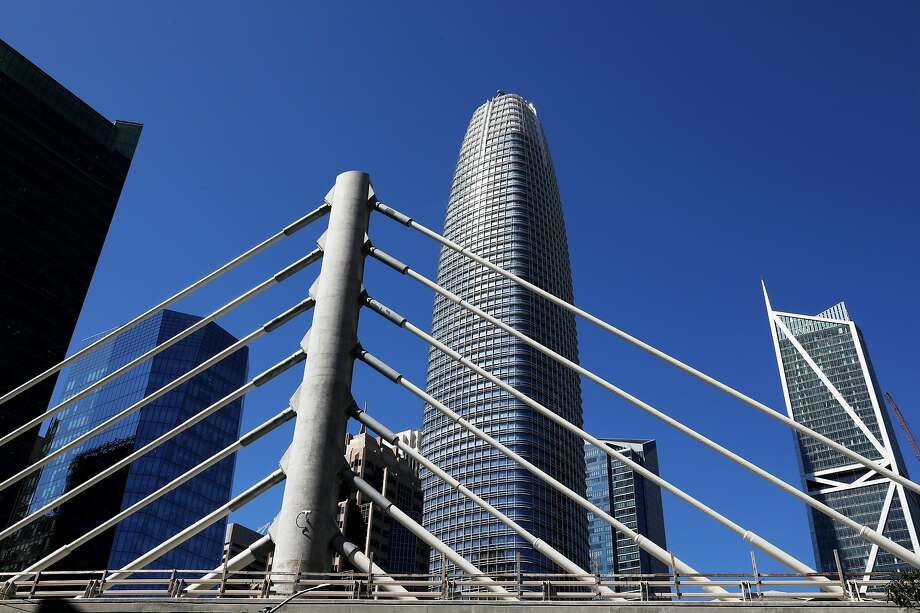 The new high-rise, located at 181 Fremont St., is 800 feet tall and has a spike on top of the structure in San Francisco, California on Thursday, July 5, 2018. It seems small next to Salesforce Tower, center. Photo: Yalonda M. James, The Chronicle