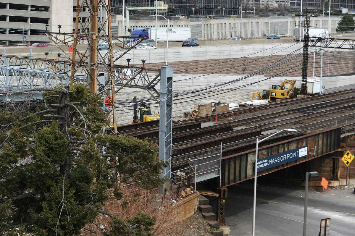 Construction workers continue the first phase of the Atlantic Street Bridge Project on South State Street in downtown Stamford in March. The work, happening near I-95 Exit 8, is the first phase of a larger project to rebuild the railroad bridge that crosses over Atlantic Street.