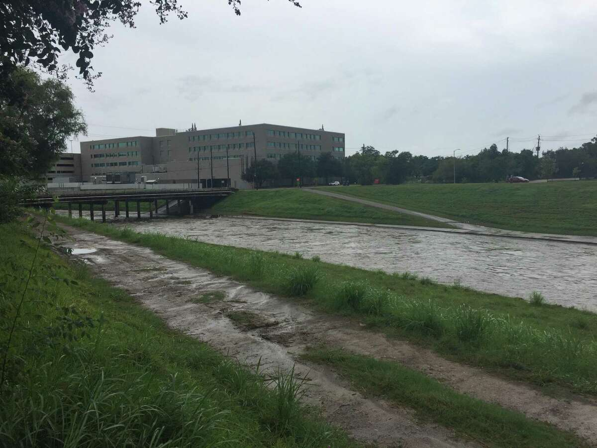 During Hurricane Harvey, waters rise in Brays Bayou at Greenbriar in the Texas Medical Center about noon Saturday, Aug. 26, 2017.