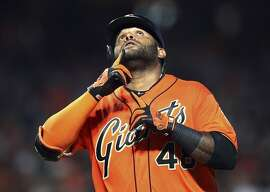 San Francisco Giants' Pablo Sandoval celebrates after hitting a home run off St. Louis Cardinals' John Gant during the sixth inning of a baseball game Friday, July 6, 2018, in San Francisco. (AP Photo/Ben Margot)