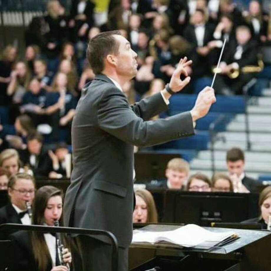 Matthew Shephard, who has been named a quarterfinalist for a Grammy Award, directs his Meridian students during a public performance. (Courtesy of Amy Grubaugh)