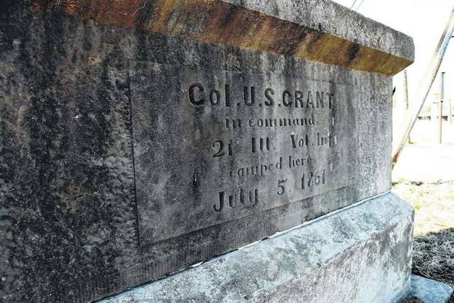 A Col. U.S. Grant marker at the Morgan County Fairgrounds in Jacksonville. Photo:       Journal-Courier