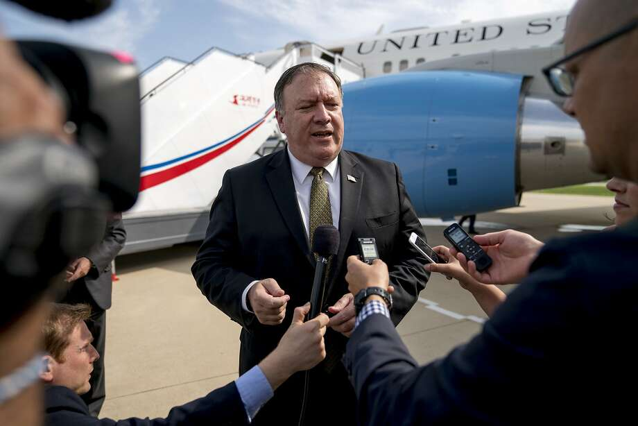 Secretary of State Mike Pompeo speaks to members of the news media at the airport in Pyongyang after two days of meetings with North Korean officials on their nuclear program. Photo: Andrew Harnik / Associated Press