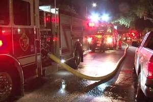 A Midtown home caught fire after being struck by lightning Friday night, the Houston Fire Department said.