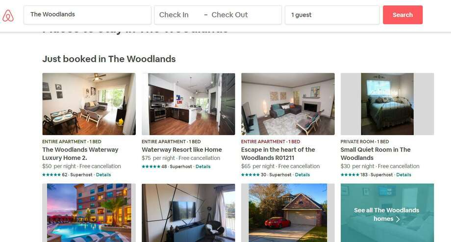This screen shot from the Airbnb website shows some of the rooms and homes available in The Woodlands. Short term rentals are causing headaches for some communities, where the use of them has caused concern about regulation and Hotel Occupancy Tax revenue. A new trend of real estate developers buying older homes and turning them solely into short-term rentals has not become an issue in the township yet, said DSC chairman Walter Lisiewski. Photo: Courtesy Image/Airbnb / Courtesy Image/Airbnb