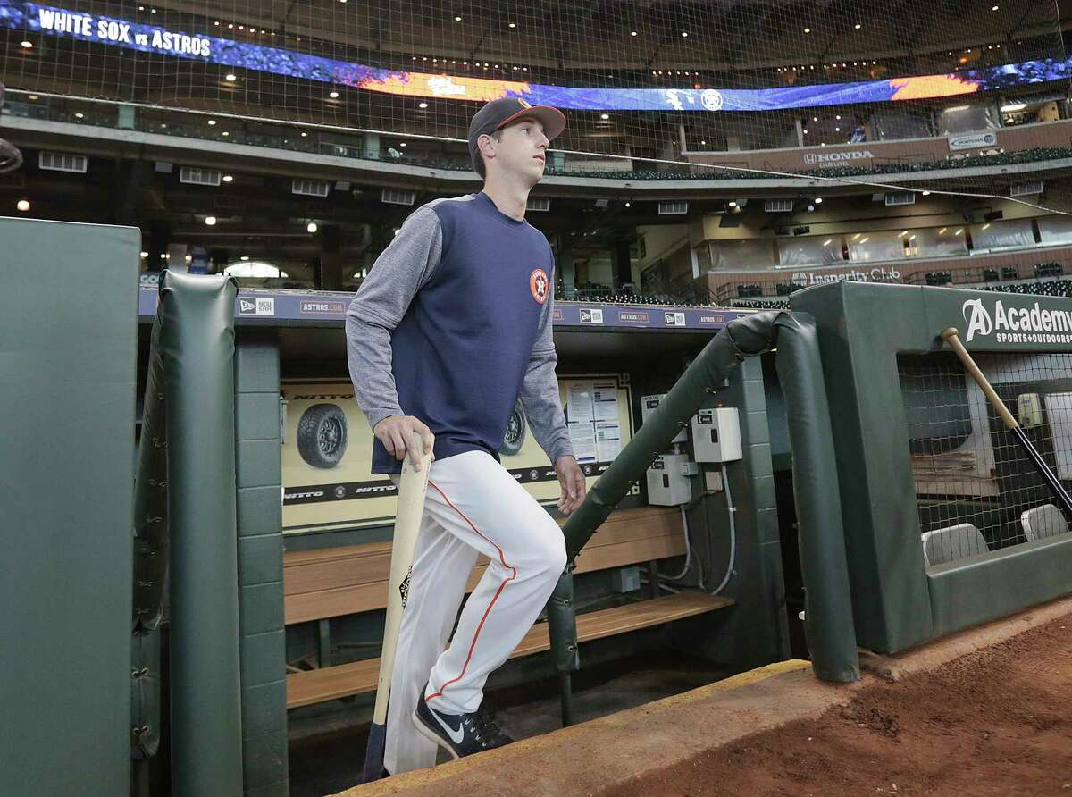 Houston Astros Kyle Tucker (3) heads to batting practice before the Astros take on Chicago White Sox on Saturday, July 7, 2018 in Houston.