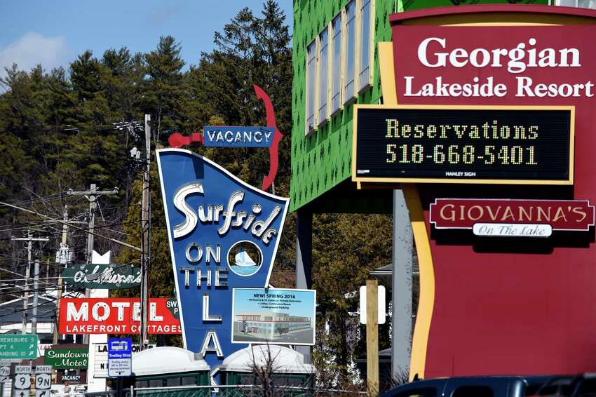Hotel signs on Canada Avenue on Tuesday, March 22, 2016, in Lake George, N.Y. (Cindy Schultz / Times Union)