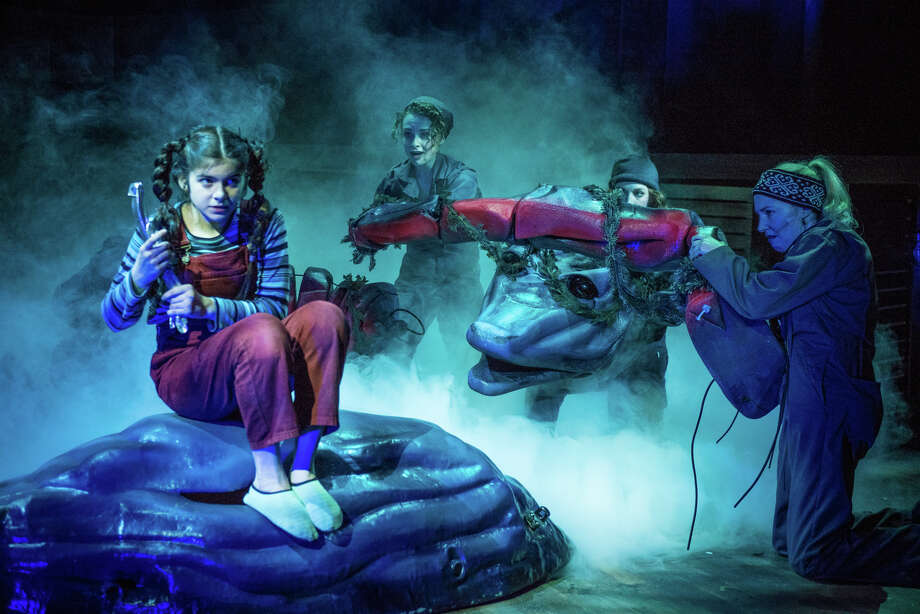 "Gabriella Pizzolo with the monster puppet in ""Loch Ness"" at Adirondack Theatre Festival. (ATF publicity photo.) Photo: Jim McLaughlin, Adirondack Theatre Festival / McLaughlin Photo"