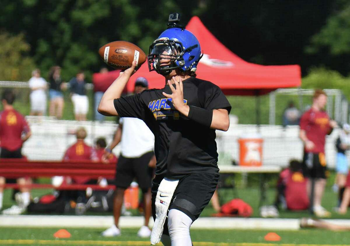 Quarterback Kevin Bednarz of Harding passes during the 11th Annual Grip It and Rip It competition on Saturday July 7, 2018 at New Canaan High School in New Canaan, Connecticut.