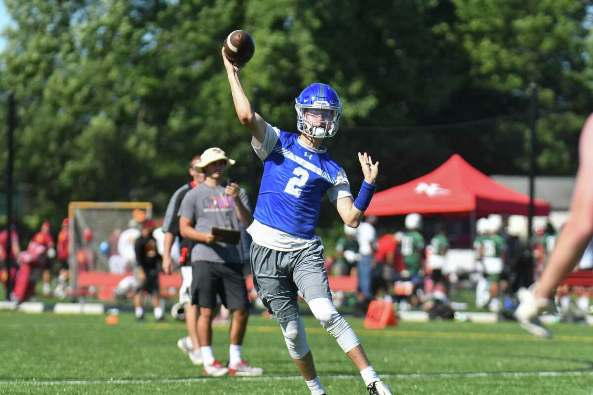 Quarterback Colin Wilson of the Fairfield Ludlowe Falcons during the 11th Annual Grip It and Rip It competition on Saturday July 7, 2018 at New Canaan High School in New Canaan, Connecticut.