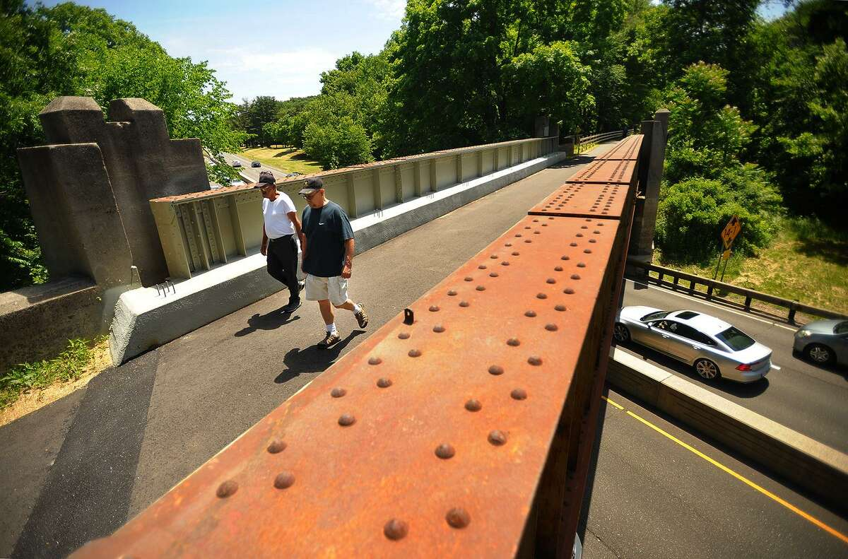 A new pedestrian walkway/bike path crossses the Merritt Parkway on a 1935 railroad bridge last week. The new walkway also includes two new highway underpasses and connects Beardsley Park in Bridgeport with Twin Brooks Park in Trumbull.
