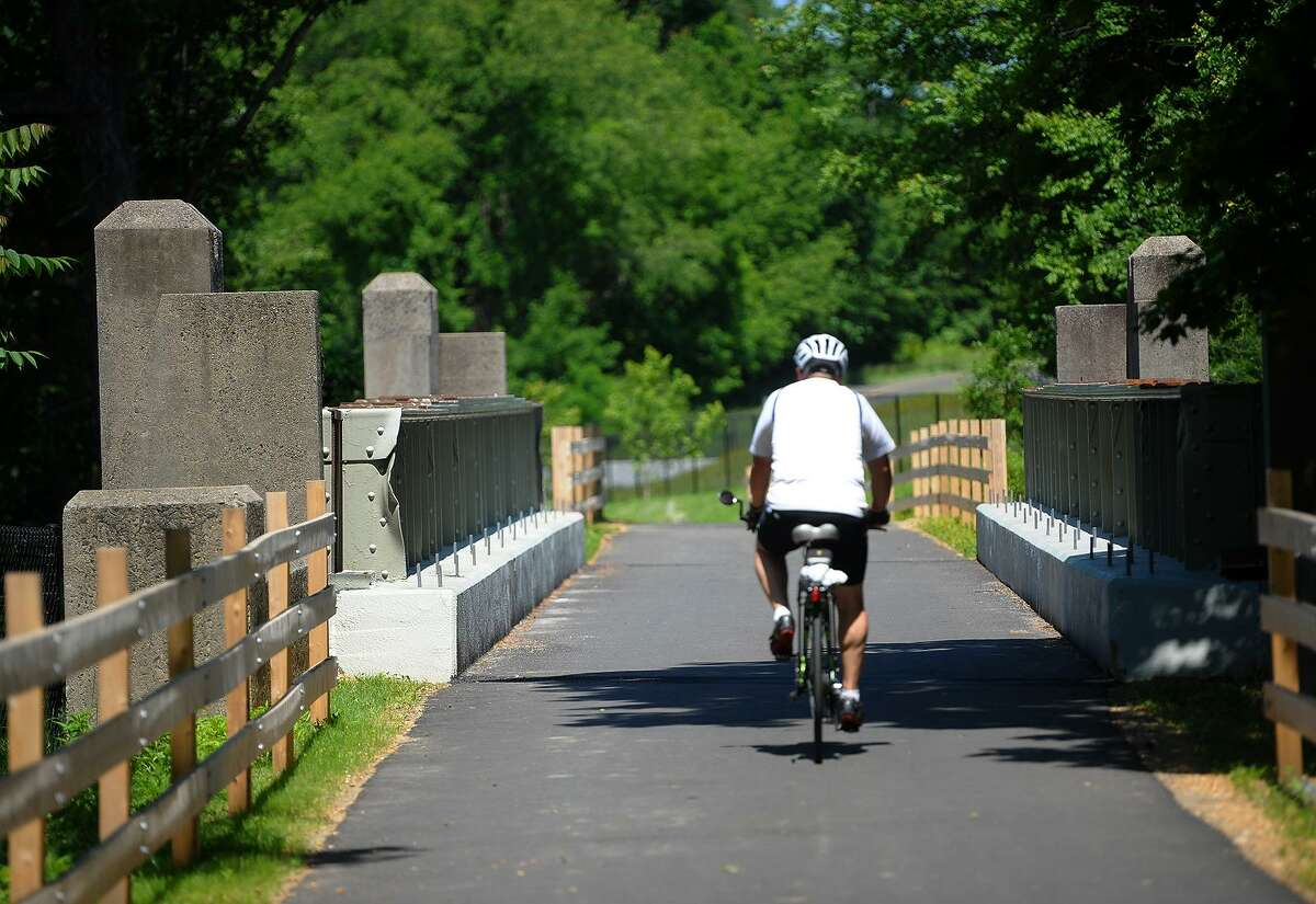 A new pedestrian walkway/bike path crossses the Merritt Parkway on a 1935 railroad bridge on Tuesday, June 12, 2018. The new walkway also includes two new highway underpasses and connects Beardsley Park in Bridgeport with Twin Brooks Park in Trumbull.