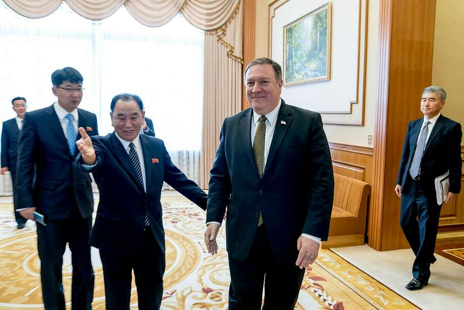 "Secretary of State Mike Pompeo, right, with the North Korean official Kim Yong-chol at the Park Hwa Guest House in Pyongyang, North Korea, July 7, 2018. North Korea accused the Trump administration of pushing a ""unilateral and gangster-like demand for denuclearization"" and called it ""deeply regrettable,"" hours after Pompeo said his two days of talks in the North Korean capital were ""productive."" (Andrew Harnik/Pool via The New York Times) -- FOR EDITORIAL USE ONLY -- Photo: ANDREW HARNIK, NYT"