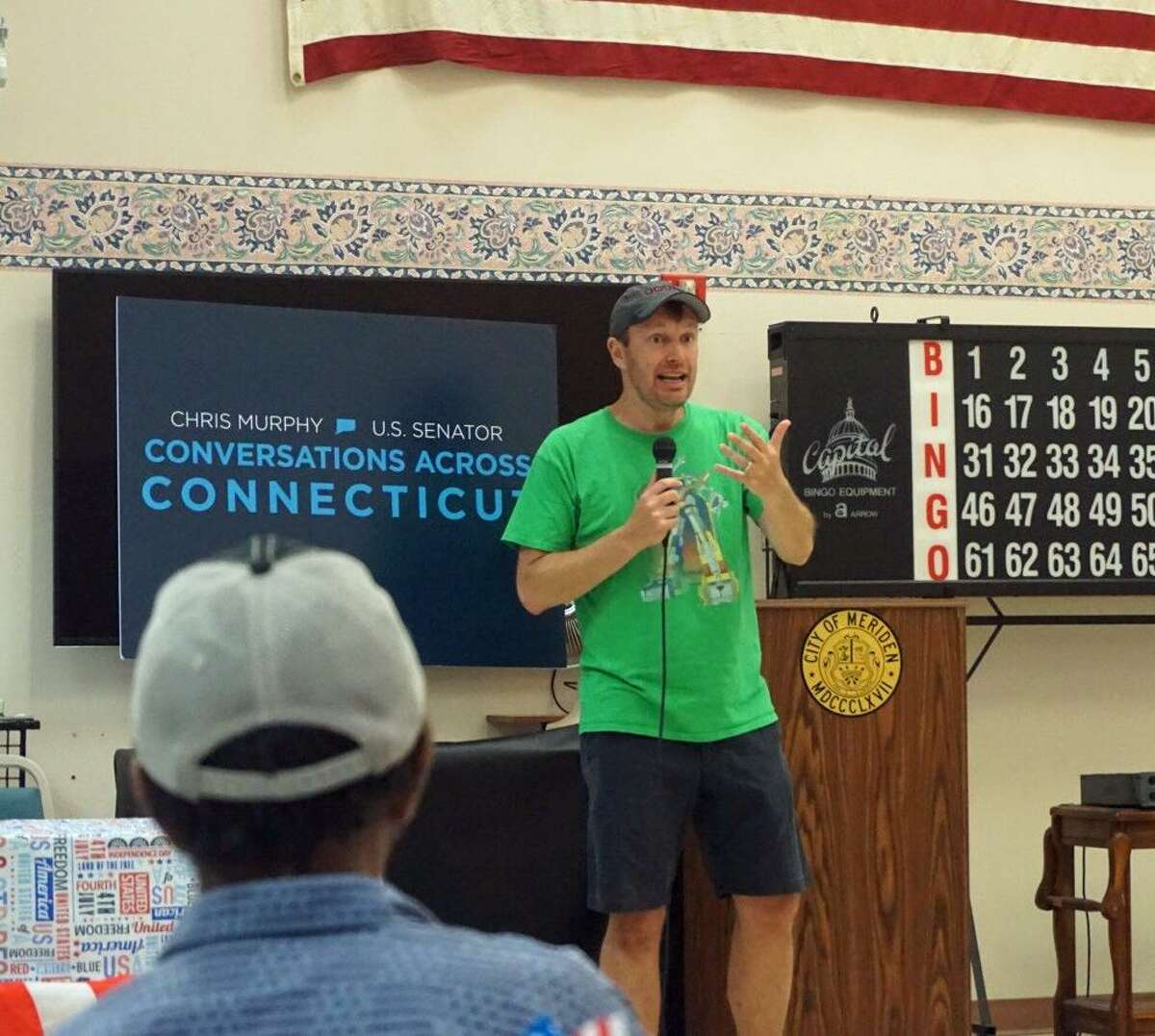 U.S. Sen. Chris Murphy held a town hall in Meriden, Conn. on Saturday July 7, 2018 during his third annual walk across the state.